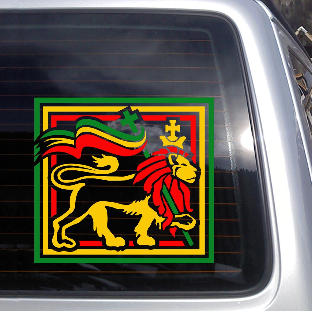 Rasta lion square vinyl decal fits car windows laptops and etsy
