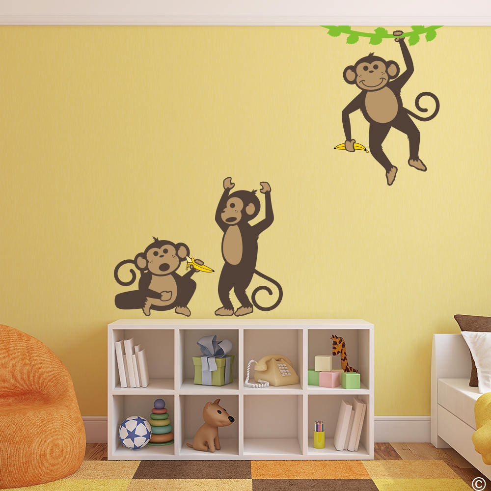 Three Monkeys with Two Bananas and Vine Vinyl Wall Decals for