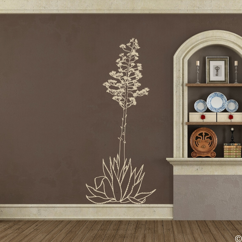 commonly called the Century Plant modern home plant decor B010 Hand Drawn Agave Americana Wall Decal