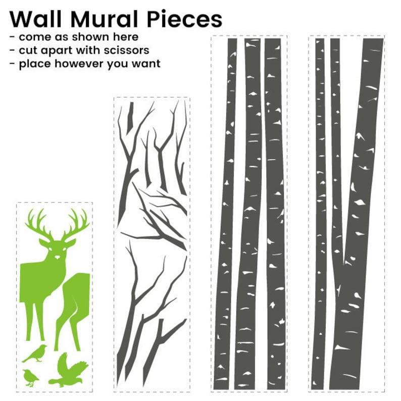 Aspen Trees with Deer and Birds Vinyl Wall Mural Decal K711 90 inch tree height