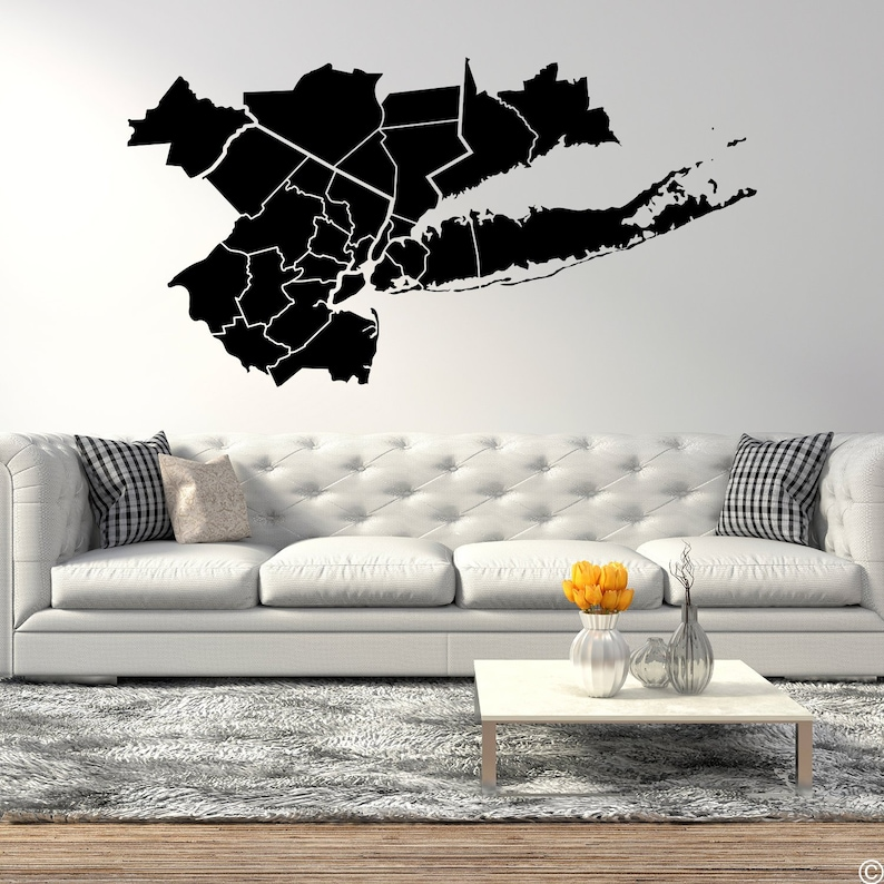 Tri-State Area Map Wall Decal K730