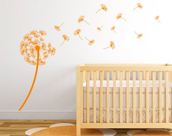 """Dandelion """"The Arianna"""" Vinyl Wall Decal with seeds blowing in the wind K434"""