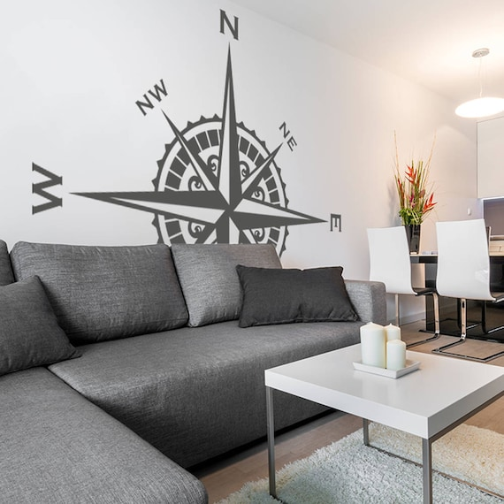 Compass Rose Vinyl Wall or Ceiling Decal nautical art themed room decor K621