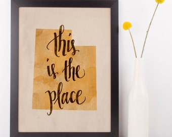 Utah state hand lettering digital print // Quote print // State art // Gift for Her // Gift for Him // Canvas print