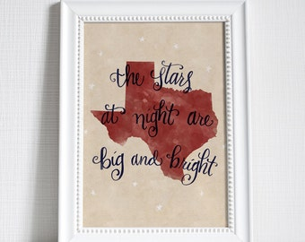 Texas Stars at Night state hand lettering digital print // Quote print // State art // Gift for Her // Gift for Him // Canvas print