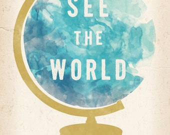 See the World Globe print 8 x 10
