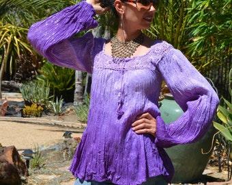 82d0e299a78 70's NWOT Deadstock India Boho Ombre purple sheer THIN crinkle cotton gauze  flower crochet silver metallic lurex tunic top blouse sz S//M
