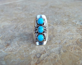 Heavy Mens .925 Silver Ring  Bisbee Copper Mine Turquoise 0095