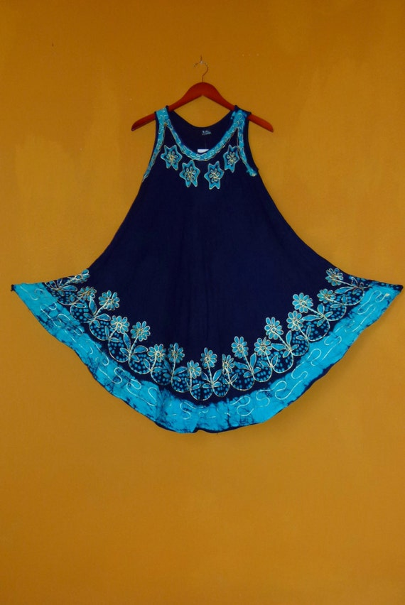 NWT Old Stock OS India boho hippie embroidered floral Tie-dye Navy Turquoise CottonRayon flowy Trapeze tent mini festival sun dress