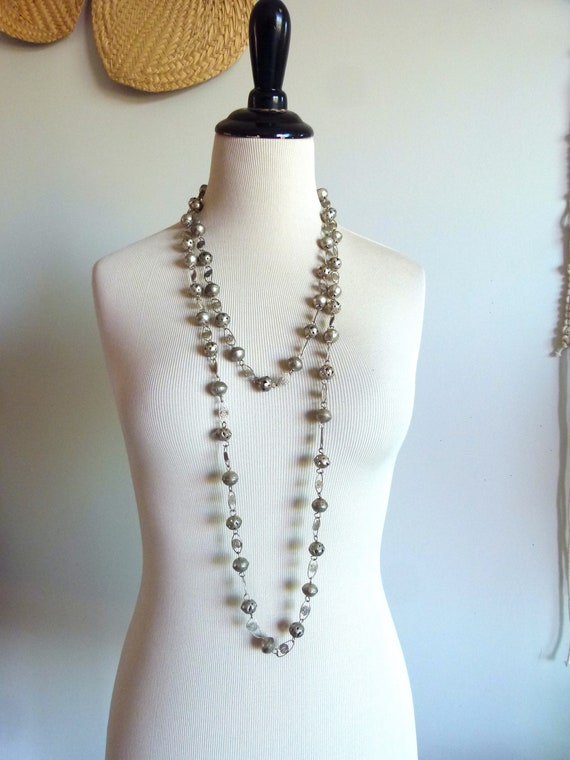 Antique Frida Khalo Oaxacan silver tone metal hollow carved beads extra long statement necklace and dangle screw back earrings/jewelry set
