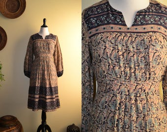 Vtg 70's Boho India KAISER poet slv sheer thin cotton gauze mocha/navy floral block print belted midi dress S/M