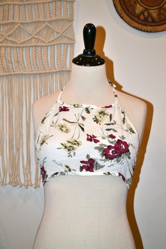 Vintage Deadstock 90s White Purple Lavender Summer Festival Crochet Sheer Mesh Beaded 3-D Flower Cotton Crop Halter Top One Size S M L