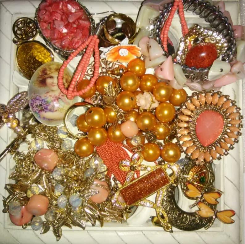 Vintage Peach Romance Coral Garden Earrings Craft Jewelry Lot