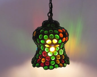 Small stained glass hanging lamp - colored jewels - one of a kind pendant light