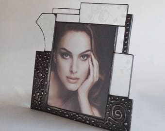 8 X 10  picture frame - one of a kind - stained glass - vertical - #6