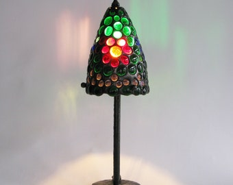Cone lamp - Stained glass - Multicolor glass jewels