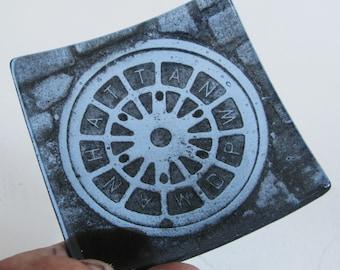 NYC manhole cover - Manhattan DPW - Fused glass