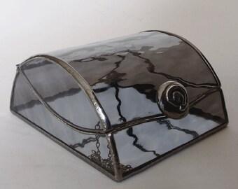 Stained glass jewelry box - light gray art glass