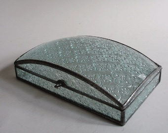 Stained glass jewelry box - rectangular dome - classic pattern