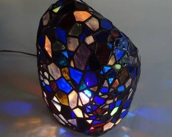 Blue rock art glass sculpture