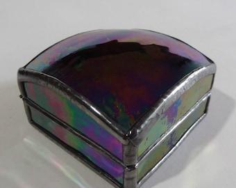 Glass jewelry box - ring box - iridescent art glass