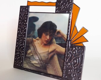 8 X 10  picture frame - one of a kind - stained glass - vertical - #11