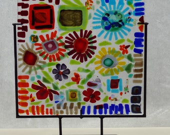 Art Glass panel -  Abstract flowers
