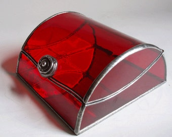 Stained glass jewelry box - red art glass