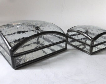 Glass jewelry box - rain drop pattern - 2 sizes