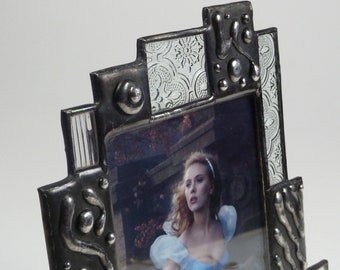 Stained glass picture frame - 4x6 - one of a kind - vertical