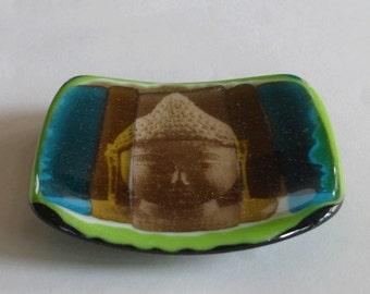 Buddha fused glass plate - Silk screen printing on glass
