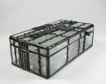 Stained Glass Jewelry Box - Patchwork of Clear Pattern Glass - One-of-a-Kind
