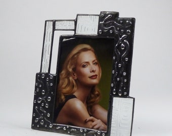 Stained glass 4x6 picture frame - one of a kind - vertical