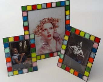Stained glass picture frame - 4x6 - 5x7 - 8x10 - Opal colors - Vertical or horizontal