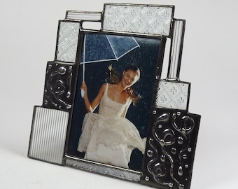 4 X 6 stained glass picture frame - one of a kind - vertical