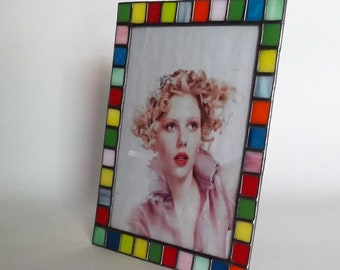 8X10 picture frame - Stained glass opal color glass - Vertical or horizontal