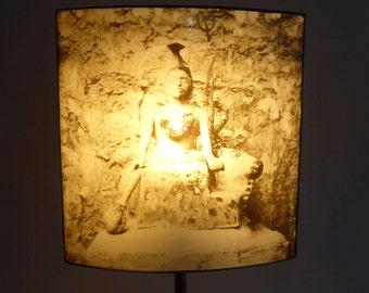 Stained glass table lamp -  enamel silkscreen - indian deity