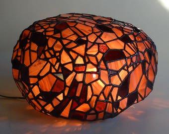 Amethyst rock art glass light sculpture