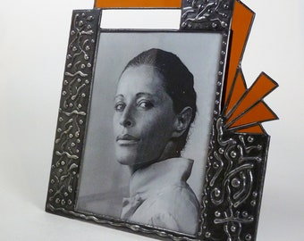 8 X 10 glass picture frame - one of a kind - stained glass - vertical