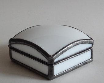 Small glass jewelry box - ring box - White art glass