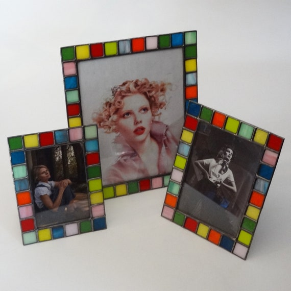 Opal color glass Stained glass picture frame 4x6-5x7-8x10