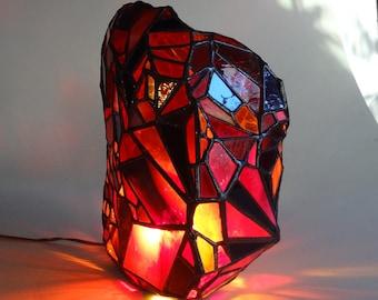 Red rock art glass light sculpture