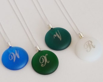 Personalized Glass Jewels Platinum Monogram initials pendant - Round shape