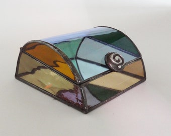 Stained glass jewelry box - Multicolor art glass - One of a kind