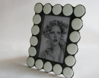"""Stained Glass Picture Frame - 4""""x6"""" - 5""""x7"""" - 8""""x10"""" - White glass beads - Vertical or Horizontal"""