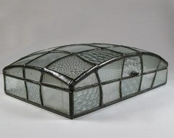 Large dome jewelry box - Art deco style patchwork