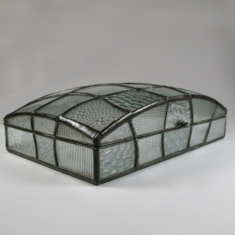 Large dome jewelry box  Art deco style patchwork image 1
