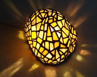 Yellow rock art glass sculpture