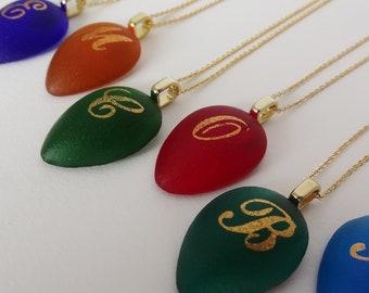 Personalized Glass Jewels Gold Monogrammed initials pendant - Tear drop shape