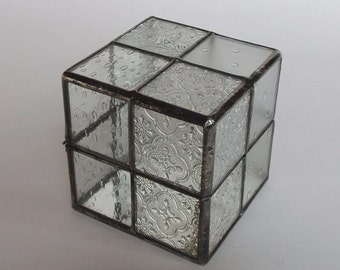 Cube glass jewelry box - patchworks of clear glass